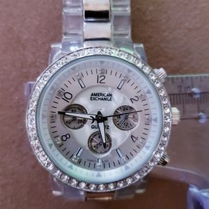 American Exchange  Mother of Pearl & Crystal Watch